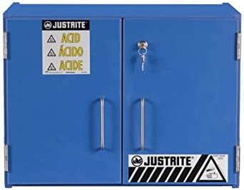 "Justrite 24120 Safety Cabinet for Corrosive Liquids, 2 Sliding Doors, Six 2-1/2 Liter bottles, 18-3/8""Height, 24""Width, 15-7/8""Depth, Wood, Blue"