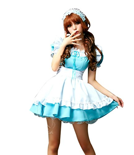 Alice in Wonderland Cosplay Princess Kleid Maid Fasching Costume Hellblau Girls