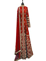 Dealfiza Charming red designer Anarkali gown
