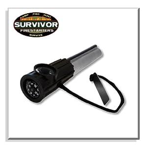Survivor Fire Starters Magnesium Firesteel Black, Flint and Steel by Survivor Firestarters