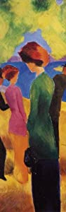 August Macke Poster Adhesive Wall Stripe Wallpaper - Lady In A Green Jacket, 1913 (98 x 31 inches)