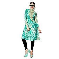 Charming Green Colored Embroidered Faux Georgette Kurti 34528 L by Triveni