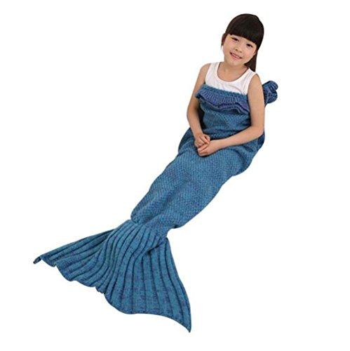 Handmade sirena coperta, coperta divano letto, tutte le stagioni Lavorato a maglia per bambini da jfq Lake blue