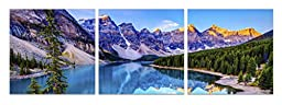 Startonight Canvas Wall Art Mountain Lake, Blue USA Design for Home Decor, Dual View Surprise Artwork Modern Framed Ready to Hang Wall Art Set of 3 Total 23.62 X 70.87 Inch Original Art Painting!