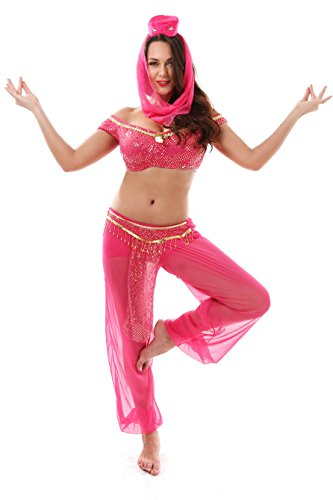 Moonight Jasmine Genie Belly Dancer Arabian Fancy Dress Costume Set