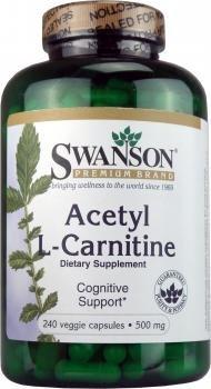 Swanson Premium Acetyl L-Carnitine - 500mg, 240 Vegetarian Capsules