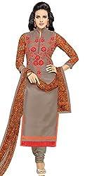 pakiza design new grey orange chanderi cotton party wear salwar suit dress material
