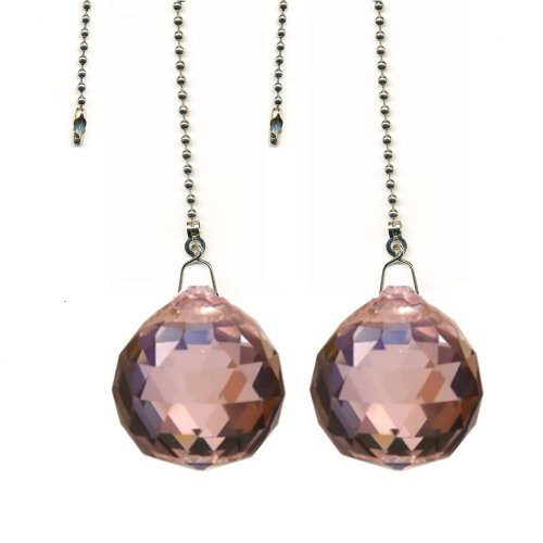 Magnificent crystal 40mm Pink Crystal Ball Prism 2 Pieces Dazzling Crystal Ceiling FAN Pull Chain (Decorative Fan Pink compare prices)