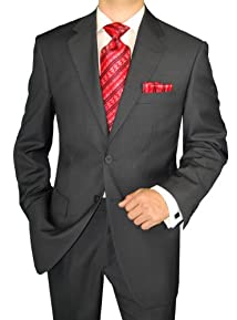 Giorgio Napoli Men's Two Button Jacket Flat Front Pants Charcoal Suit