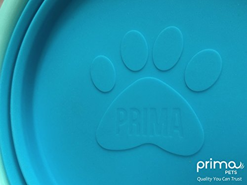 Prima Pet Expandable / Collapsible Silicone Food & Water Travel Bowl with Clip for Medium & Large Dog, Portable and Durable Pop-up Feeder for Convenient On-the-go Feeding, Size: 5 Cups (7 Inch Diameter Bowl) (LARGE (5 CUPS), AQUA)