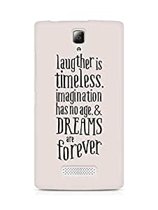 AMEZ laughter is timeless imagination has no age and dreams are forever Back Cover For Lenovo A2010