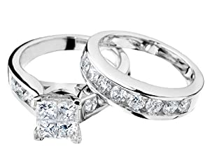 Princess Cut Diamond Engagement Ring and Wedding Band Set 1 Carat (ctw) in 14K White Gold , Size 8