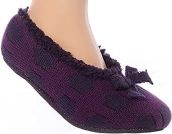 Jennifer Anderton Purple Knitted fleece Lined Gripper Slipper Socks UK 6-8