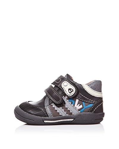 BILLOWY Zapatos Abotinados Dos Velcros Negro