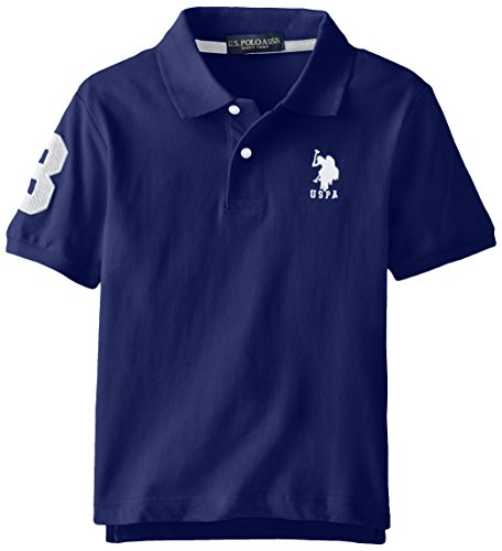 U.S. Polo Assn. Big Boys' Short Sleeve Solid Pique Polo, Marina Blue, 10/12 (Big Boy compare prices)