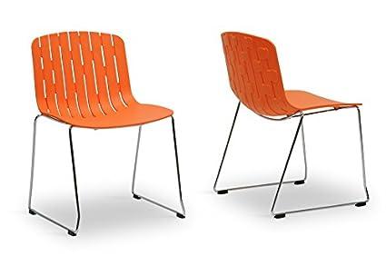 Ximena Orange Plastic Modern Dining Chair with Chanasya Polish Cloth Bundle (Set of Two)