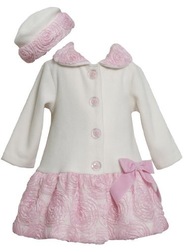 Bonnie Jean Baby-girls Bonaz Fleece Fall Winter Coat & Hat Set