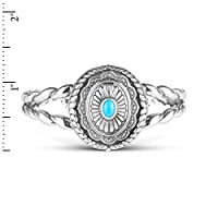 American West Genuine .925 Sterling Silver Sleeping Beauty Turquoise Interchangeable Cuff Bracelet from Relios