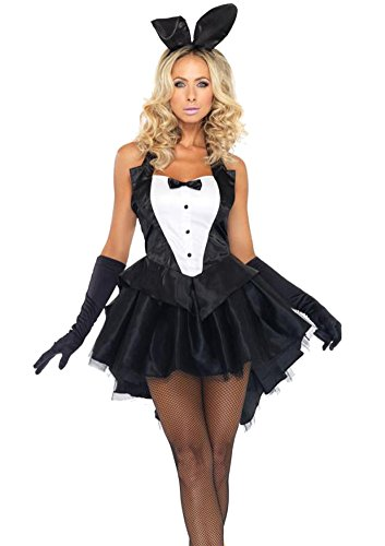 Dreamall Women's Halloween Swallowtail Ruffled Sexy Bunny Girl Costume