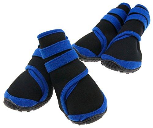 4Pc-Haustier-Blau-Wasserfeste-Rutschhemmende-Schuhe-Neopren-Schutzstiefel-M