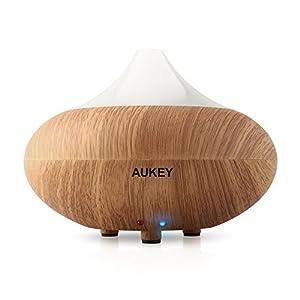 Aukey® Humidificateur ultrasonique/Diffuseur Aroma/ Diffuseur d'huiles essentielles / humidificateur/ diffuseur de parfum de lumière avec la prise UE (Bois clair)