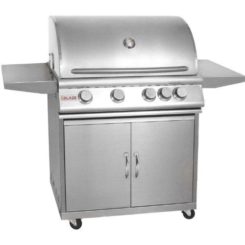 Blaze 32-Inch 4-Burner Natural Gas Grill With Rear Infrared Burner On Cart