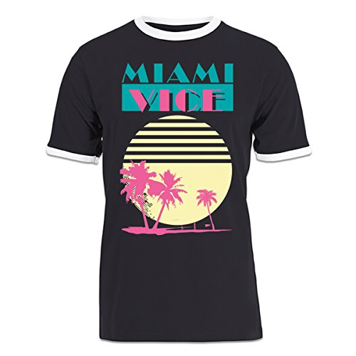 Men's Miami Vice Sunset Retro  Ringer T-shirt by Shirtcity - S to XXL