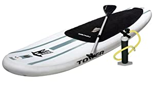 """Tower Adventurer 9'10"""" Inflatable Paddle Board (6"""" Thick) with Pump and 3-PC Adjustable Paddle"""