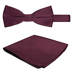 Jacob Alexander Solid Color Men\'s Bowtie and Hanky Set - Burgundy Wine