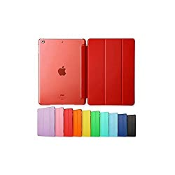 Smart Cover for IPAD AIR 2 /IPAD 6, Go Crazzy Translucent Back Flip Case for IPAD AIR 2 /IPAD 6 (Red)