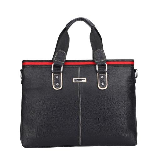 Men's Vintnage Top Quality Cowhide Leather Leisure Business Brief Shoulder Messager Bag Handbag Briefcase Black