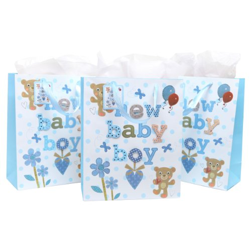 3D Baby Shower Gift Bags & Tissues (Set of 3) - Light Blue - For Newborn Boy, Birthday Presents, Christening, Baptisms, Expecting Mothers
