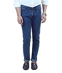 ManQ Light Blue Lycra Slim Fit Men's Jeans