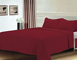 Burgundy Oversized Reversible Bedspread/Quilt Set Queen
