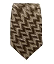 "Wool Herringbone Brown and Taupe 3"" Patterned Tie"