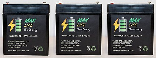 12V 5Ah Sla Battery For Electric Scooter / Alarm System Battery - 3 Pack