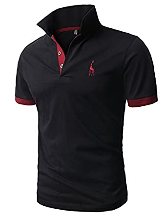 H2H Mens Fine Cotton Giraffe Polo Shirts of Various Colors BLACK US XS/Asia M (JDSK36)