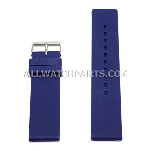 18Mm Flat Dark Blue Silicone Rubber Watch Strap