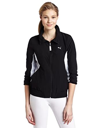 PUMA Women's Woven Full Zip Jacket, Black/white, Large