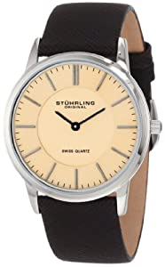 Stuhrling Original Men's 238.321K43 Classic Ascot Newberry Swiss Quartz Super Slim Brown Leather Strap Watch