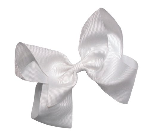 Webb Direct 2U Girls Xl Grosgrain Wrapped Bow French Clip White (2092Fc) front-984686