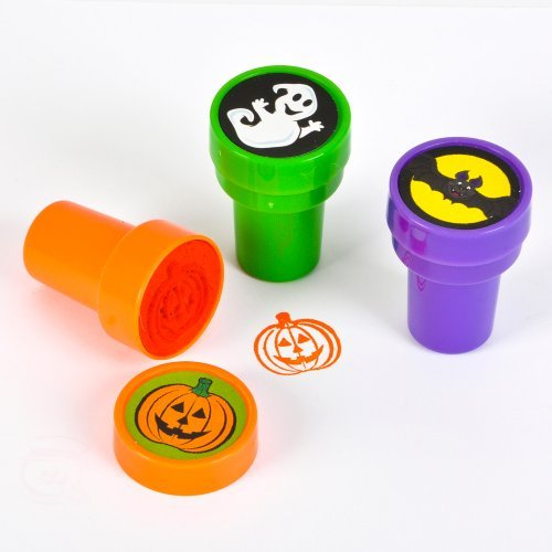 "~ 12 ~ Halloween Stampers ~ 1.5"" ~ Self-inking ~ New / Shrink-wrapped ~ Bat, Ghost, Pumpking, Jack-o-lantern"