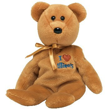 1 X TY Beanie Baby - ILLINOIS the Bear (I Love Illinois - State Exclusive)