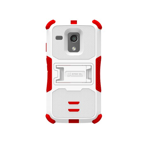 Beyond Cell High Impact Rugged Tri Shield® Protective 3 Layer Hybrid Case Cover With Built In Kickstand And Clear Screen Protector Film For Motorola Moto G Xt1032 - White/Red - Retail Packaging