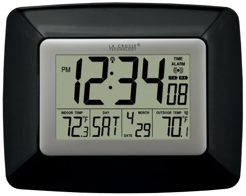 La Crosse Technology WS-8119U-IT-B Atomic Digital Wall Clock, with Temperature
