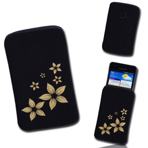 Handy Tasche Case Hülle schwarz / gold Blume2 Gr.2 für Samsung C3312 Rex60 / S5222R Rex80 / Galaxy Young S6310 / Galaxy Young Duos S6312 / Galaxy Pocket Plus S5301 / Samsung Galaxy Pocket Neo S5310 / Alcatel OT 903D / Alcatel OT Star 6010D