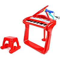 Classical Elegant Piano Childrens Kids Toy Keyboard Musical Instrument Play Set W/ Microphone, Stool, 37 Key Piano...