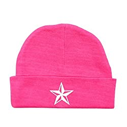 Crazy Baby Clothing White Star Baby Beanie One Size in Color Fuschia