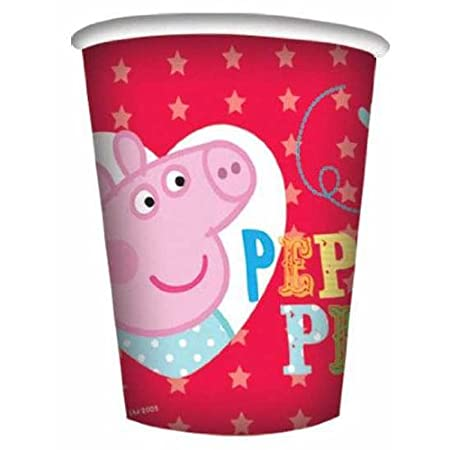 Peppa Pig Party Cups Peppa pig paper cups measuring approximately 260ml. Each pack contains 8 cups featuring Peppa pig at a party scene with her brother George pig on a spotty red background. Disposable perfect for parties.
