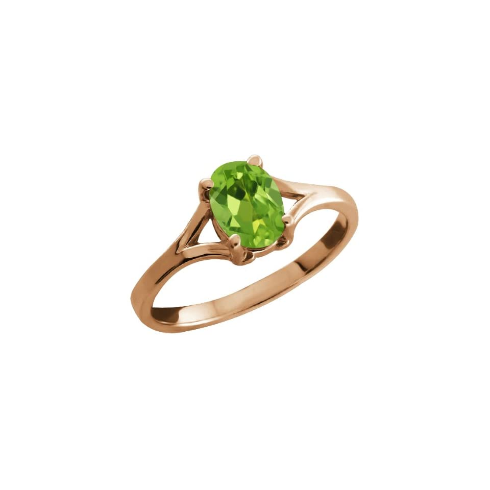 0.80 Ct Oval Green Peridot Rose Gold Plated Silver Solitaire Ring